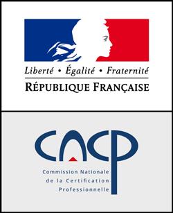 Titre RNCP niveau I (Bac+5) Certifié par la Commission Nationale de la Certification Professionnelle (CNCP) et enregistré au Répertoire National des Certifications Professionnelles (RNCP)